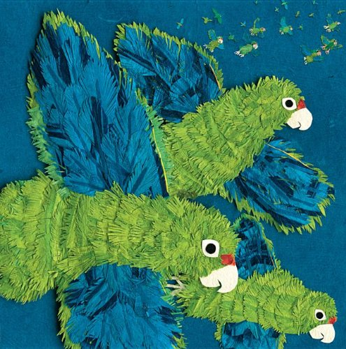 Cover of Parrots over Puerto Rico, by Susan L. Roth and Cindy Trumbore, illustrated by Susan L. Roth--2014 Sibert Award winner